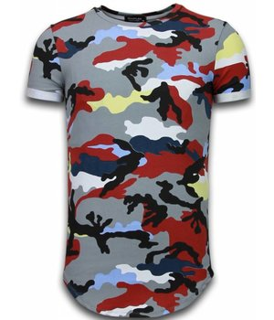 Uniplay Known Camouflage T-shirt - Long Fit Shirt Army - Bordeaux