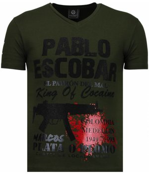 Local Fanatic Pablo Escobar Narcos - Rhinestone T-shirt - Groen