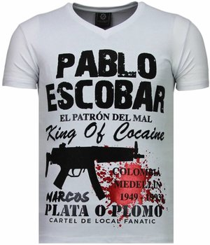 Local Fanatic Pablo Escobar Narcos - Rhinestone T-shirt - Wit