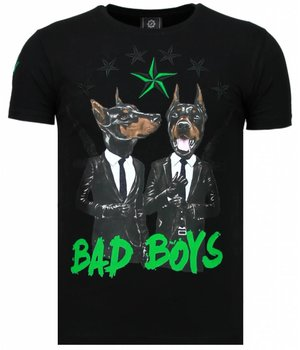 Local Fanatic Bad Boys Pinscher - Rhinestone T-shirt - Zwart