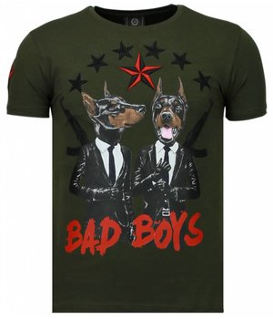 Local Fanatic Bad Boys Pinscher - Rhinestone T-shirt - Groen