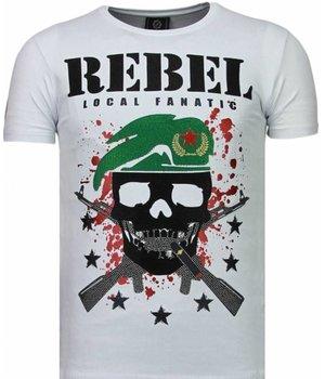 Local Fanatic Skull Rebel - Rhinestone T-shirt - Wit