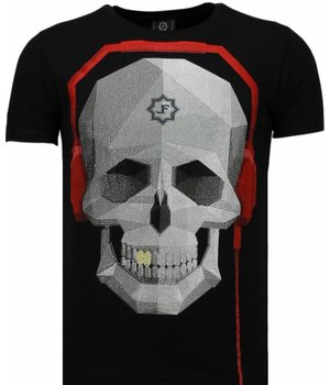 Local Fanatic Skull Bring The Beat - Rhinestone T-shirt - Zwart