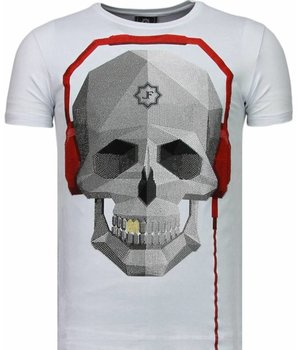 Local Fanatic Skull Bring The Beat - Rhinestone T-shirt - Wit