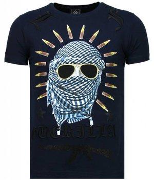 Local Fanatic Freedom Fighter - Rhinestone T-shirt - Blauw