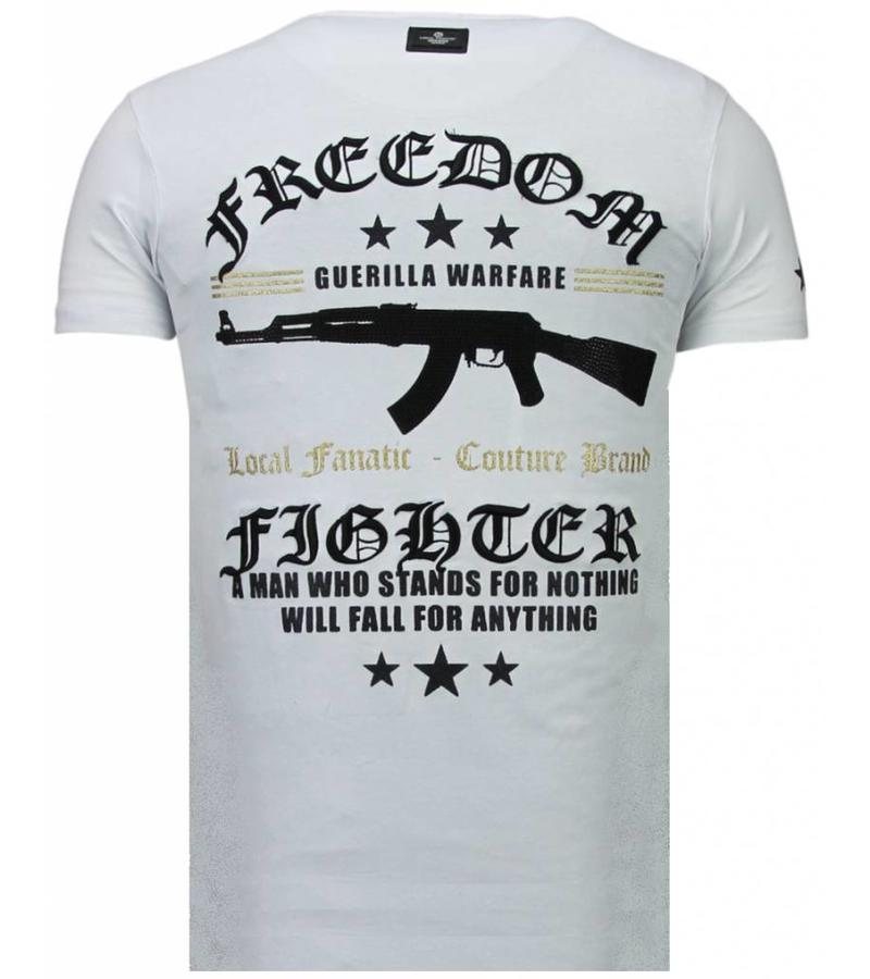 Local Fanatic Freedom Fighter - Rhinestone T-shirt - Wit