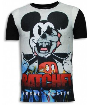 Local Fanatic Ratchet Mickey - Digital Rhinestone T-shirt - Zwart