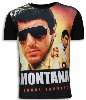 Local Fanatic Tony Montana - Digital Rhinestone T-shirt - Zwart