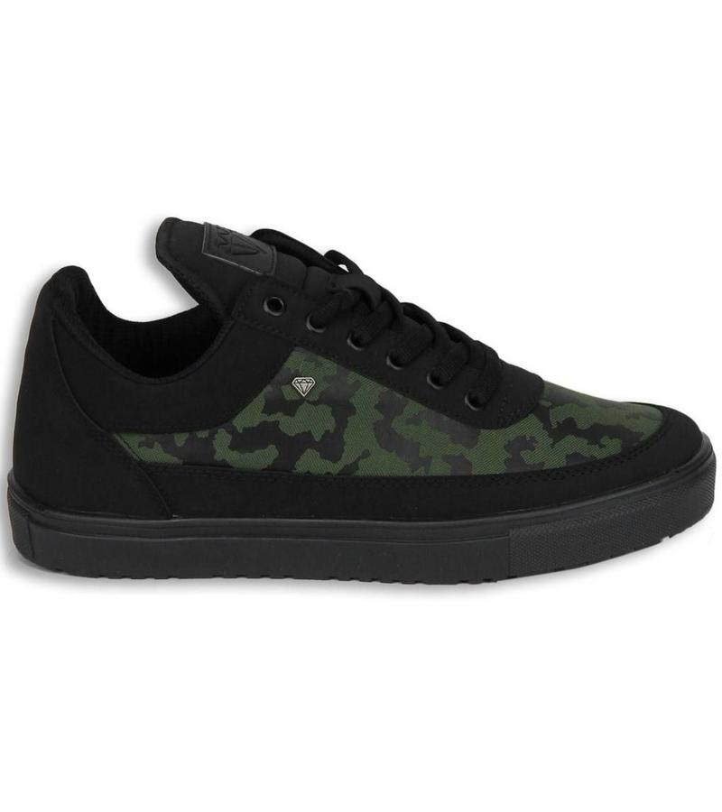 Cash Money Heren Schoenen - Heren Sneaker Low Camouflage Side - Groen Zwart
