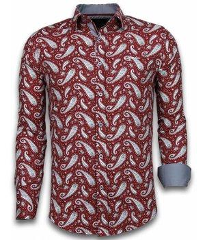 Gentile Bellini Italiaanse Overhemden - Slim Fit Overhemd - Blouse Flower Pattern - Bordeaux