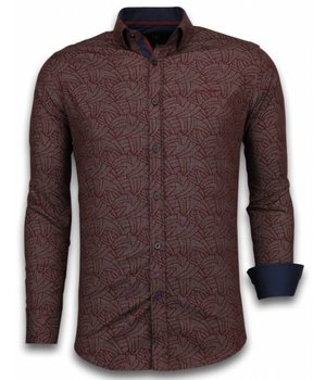 Gentile Bellini Italiaanse Overhemden - Slim Fit Overhemd - Blouse Dotted Leaves Pattern - Bordeaux