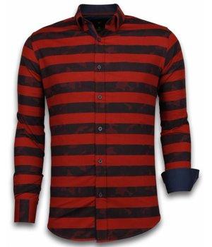 Gentile Bellini Italiaanse Overhemden - Slim Fit Overhemd - Blouse Big Stripe Camouflage Pattern - Rood