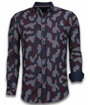 Gentile Bellini Italiaanse Overhemden - Slim Fit Overhemd - Blouse Dotted Camouflage Pattern - Zwart