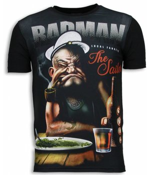 Local Fanatic Popeye Badman - Digital Rhinestone T-shirt - Zwart
