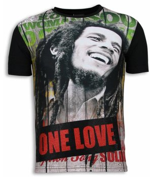 Local Fanatic Bob Marley One Love - Digital Rhinestone T-shirt - Zwart