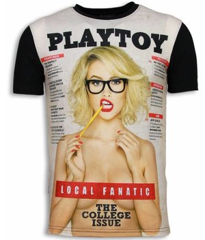 Local Fanatic Playtoy The College Issue - Digital Rhinestone T-shirt - Zwart