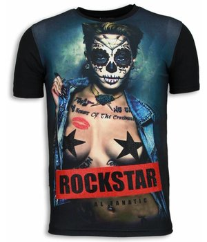 Local Fanatic Rockstar - Digital Rhinestone T-shirt - Zwart