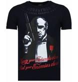 Local Fanatic Godfather - Rhinestone T-shirt - Navy