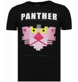 Local Fanatic Panther For A Cougar - Rhinestone T-shirt - Zwart