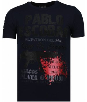 Local Fanatic Pablo Escobar Narcos - Rhinestone T-shirt - Blauw