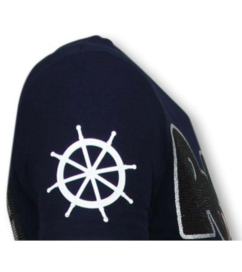 Local Fanatic The Sailor Man - Rhinestone T-shirt - Blauw