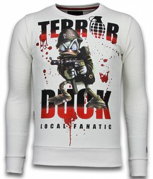 Local Fanatic Terror Duck - Rhinestone Sweater - Wit