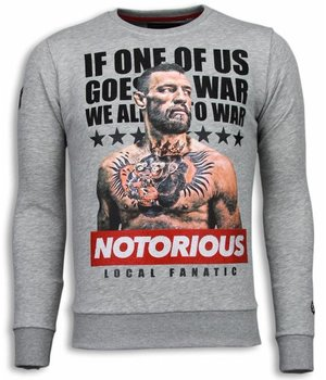 Local Fanatic Conor McGregor - Rhinestone Sweater - Grijs
