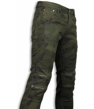 Urban Rags Exclusieve Biker Jeans - Slim Fit Zipped Biker Jeans - Camouflage