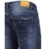 Black Ace Basic Jeans - Damaged Knee Regular Fit - Blauw