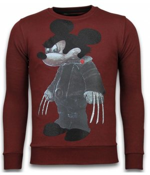 Local Fanatic Bad Mouse - Rhinestone Sweater - Bordeaux