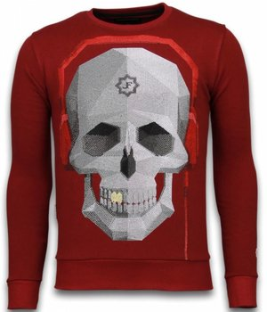 Local Fanatic Skull Beat - Rhinestone Sweater - Bordeaux