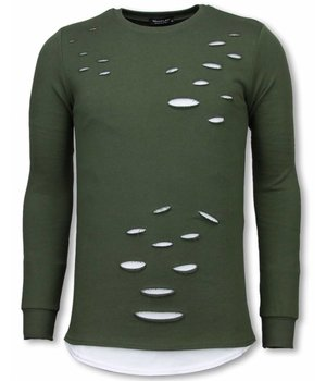 Uniplay Longfit Sweater - Damaged Look Shirt - Groen