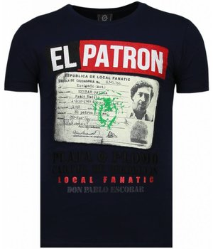 Local Fanatic El Patron Narcos Billionaire - Rhinestone T-shirt - Blauw