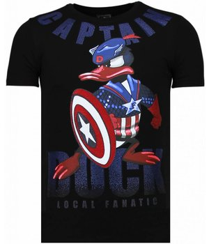 Local Fanatic Captain Duck - Rhinestone T-shirt - Zwart