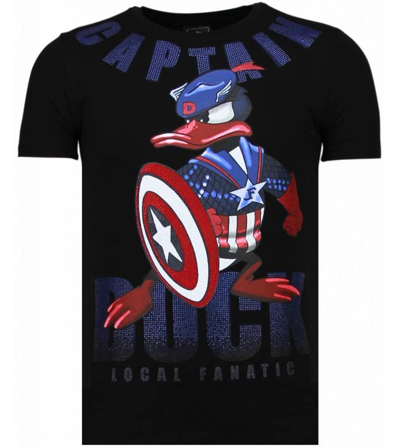 Local Fanatic Captain Duck - Rhinestone T-shirt - Zwart