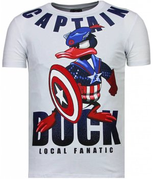 Local Fanatic Captain Duck - Rhinestone T-shirt - Wit