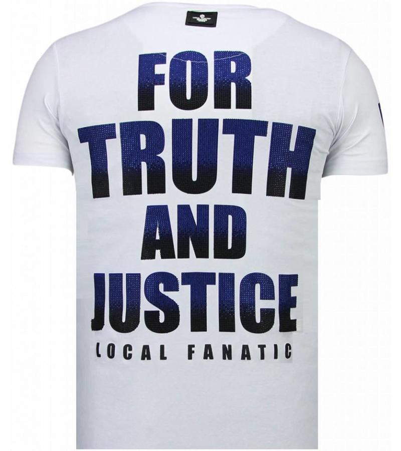 Local Fanatic Captain Duck - Rhinestone T-shirt - Wit