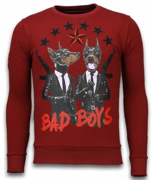 Local Fanatic Bad Boys - Rhinestone Sweater - Bordeaux