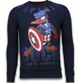 Local Fanatic Captain Duck - Rhinestone Sweater - Navy