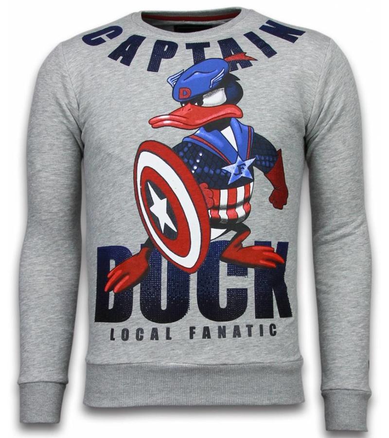 Local Fanatic Captain Duck - Rhinestone Sweater - Grijs