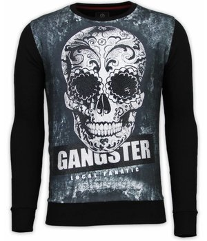 Local Fanatic Gangster Skull - Digital Rhinestone Sweater - Zwart