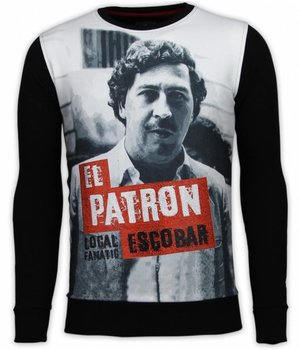 Local Fanatic El Patron Escobar - Digital Rhinestone Sweater - Zwart