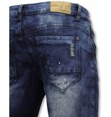 Urban Rags Exclusieve Biker Jeans - Slim Fit Damaged Knee With Paint Drops - Blauw