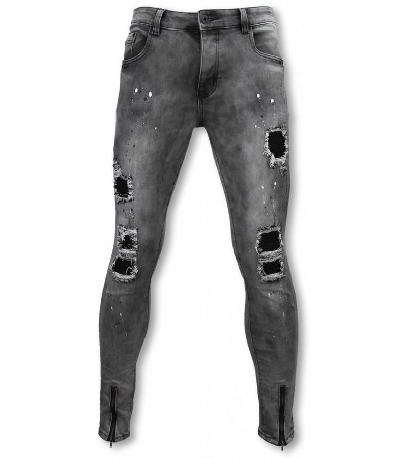 Urban Rags Exclusieve Biker Jeans - Slim Fit Damaged Jeans With Paint Drops - Grijs