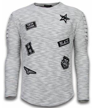 Enos Sweater Heren - Longsleeve - Long Fit  Sweater Exclusieve Sweater - Patches Biker Sleeves - Grijs