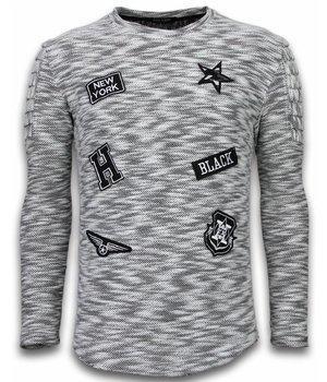 Enos Sweater Heren - Longsleeve - Long Fit  Sweater - Patches Biker Sleeves  - Zwart