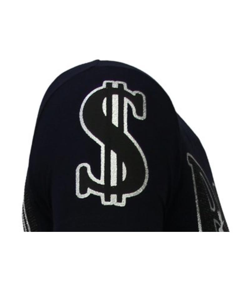 Local Fanatic Billionaire Boss - Rhinestone T-shirt - Navy