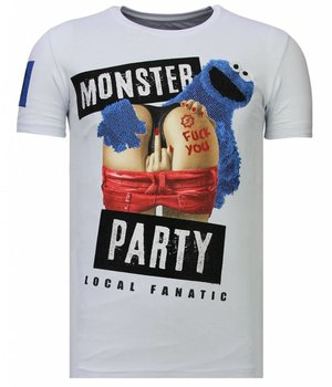 Local Fanatic Monster Party - Rhinestone T-shirt - Wit