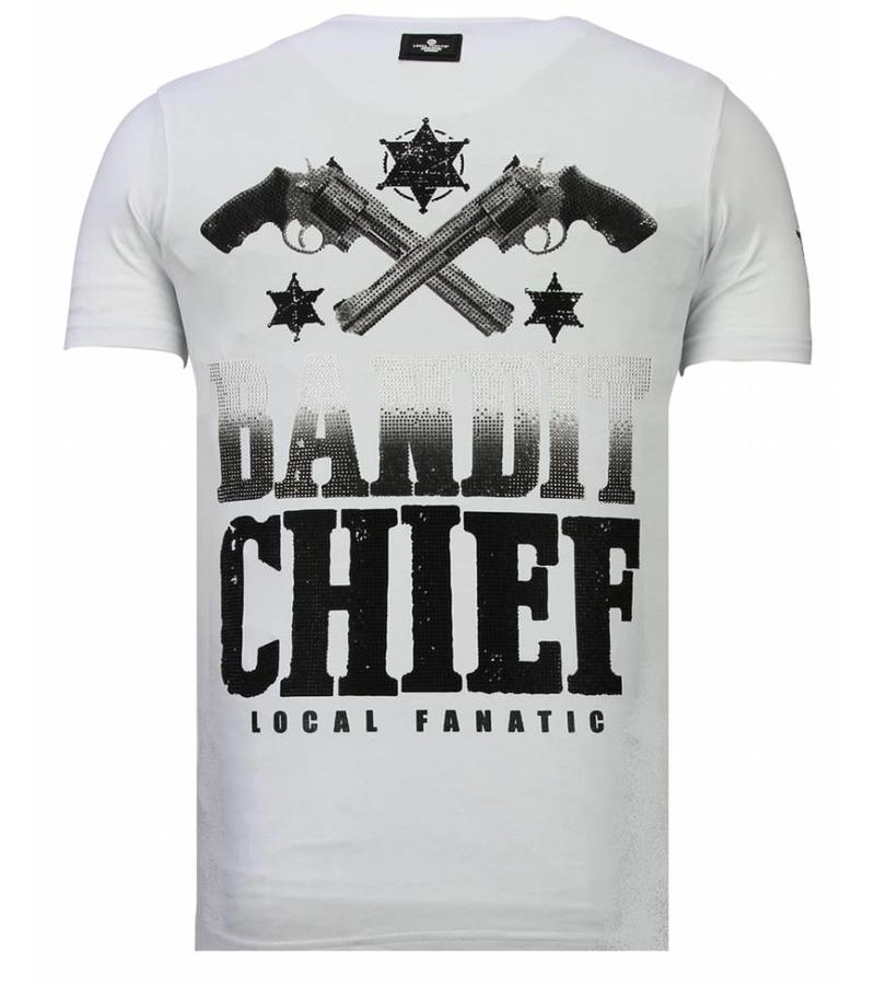 Local Fanatic Bandit Chief - Rhinestone T-shirt - Wit