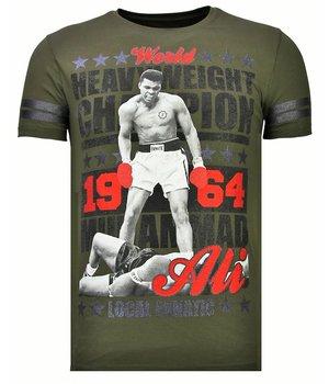 Local Fanatic Greatest Of All Time - Rhinestone T-shirt - Khaki